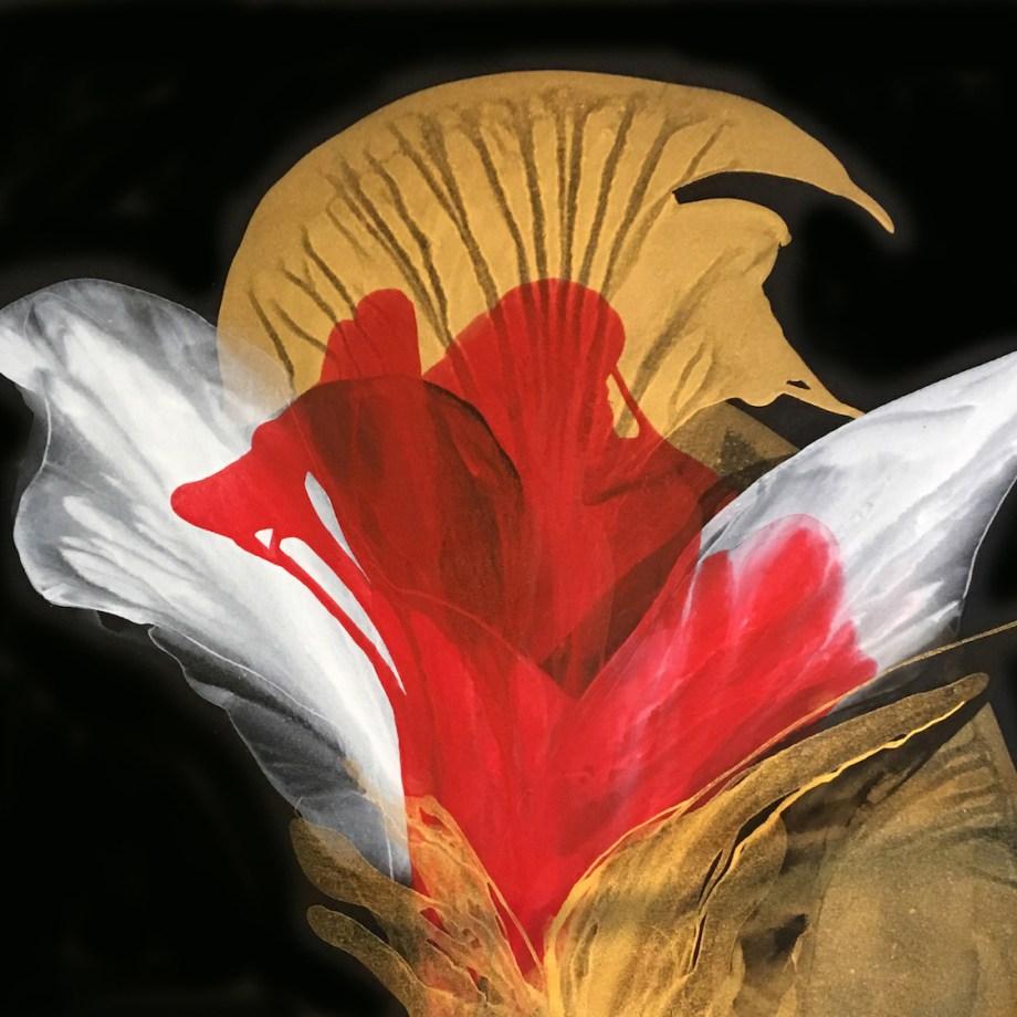 "Title ""Summer Solstice Rose"" Medium Acrylic on canvas Size 43"" x 40"""