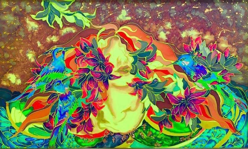 Title SUMMER Medium Mixed media,painting on silk,batik Size 120x80 inch