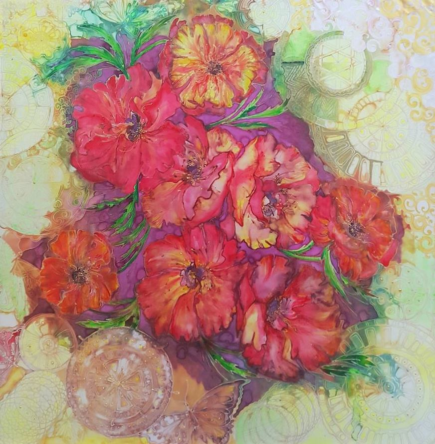 Title POPPIES Medium Painting o silk,batik Size 40x40 inch