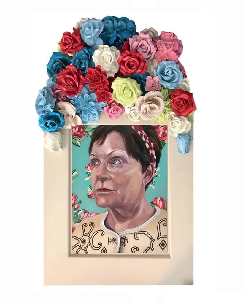 "Title Mrs H Medium Acrylic on Board in Fine Art Custom Frame Size 20"" x 34"""