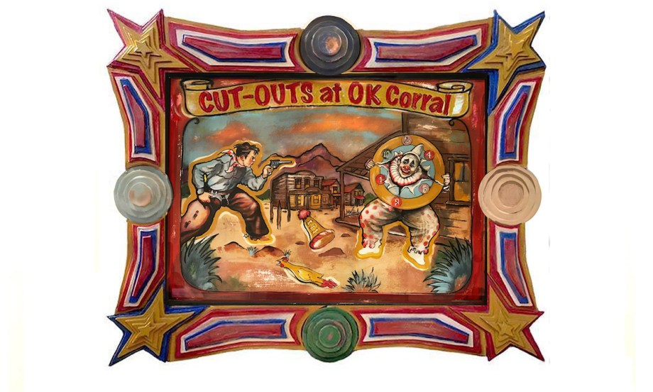 """Title Cut-Outs at OK Corall Medium Acrylic on Paper with Copper Penny with Carved Wood Custom Art Frame Size 42"""" x 34"""""""