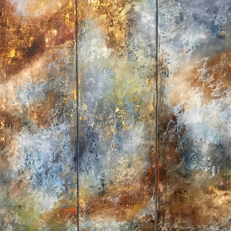 """Title Listening to Chopin. Triptych (Art Project """"Seeing Music"""") Medium oil on canvas, texture paste Size 23.60"""" by 23.60"""""""