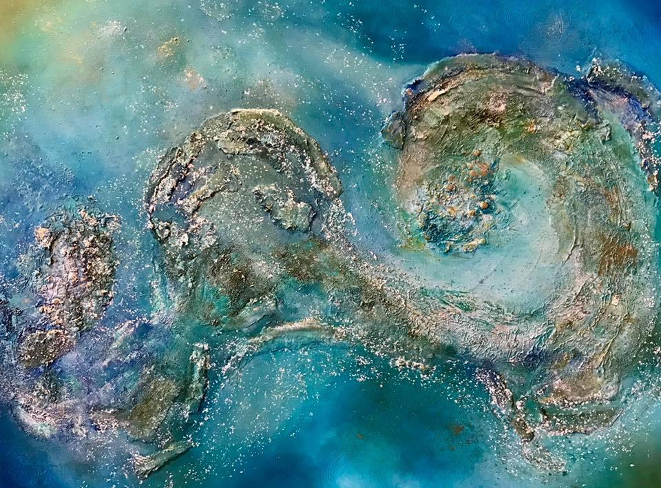 Dreaming of the Sea Medium Layered Mixed Media, Acrylic Size 30x40