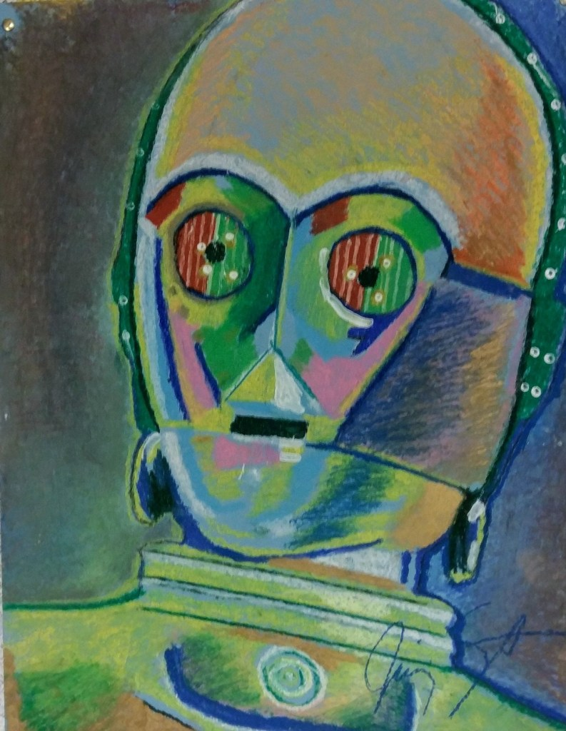 "Title My Star Wars C3-PO Medium Oil pastel Size 19"" X 25"""