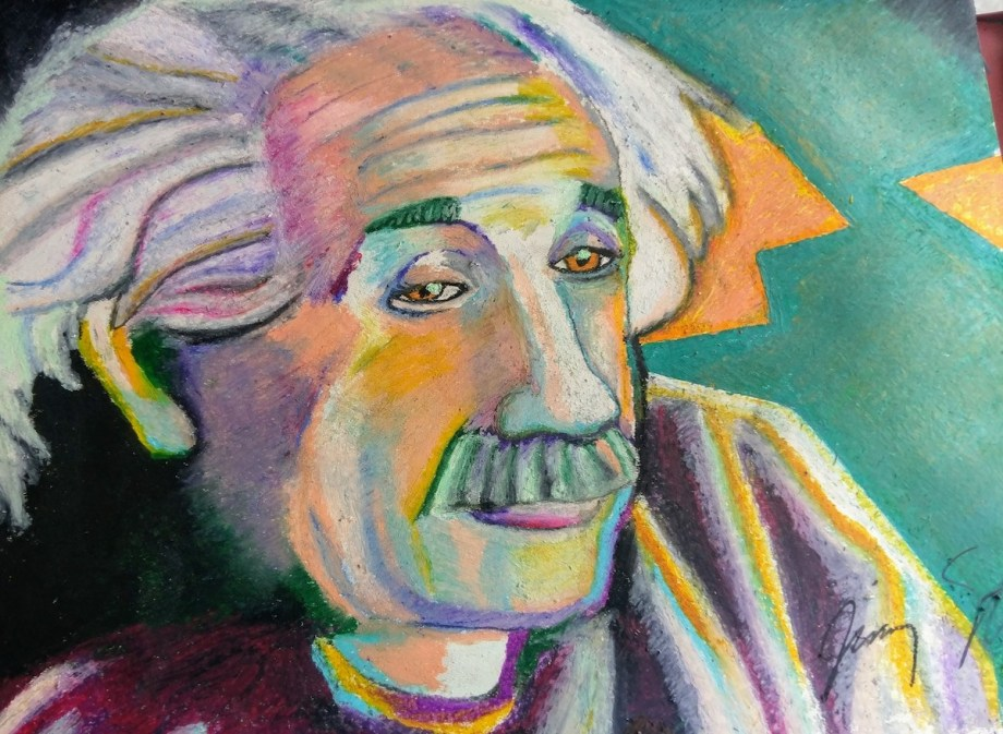 """Title Einstein Medium Oil pastel Size 19"""" X 25"""""""