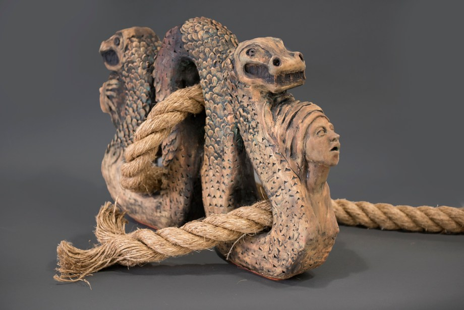 Two Headed Serpent Medium ceramics Size 24 X 30 X 10""