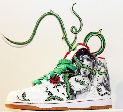 """In Flight Medium Oil on Nike Sneaker Size 8.5""""x10"""""""
