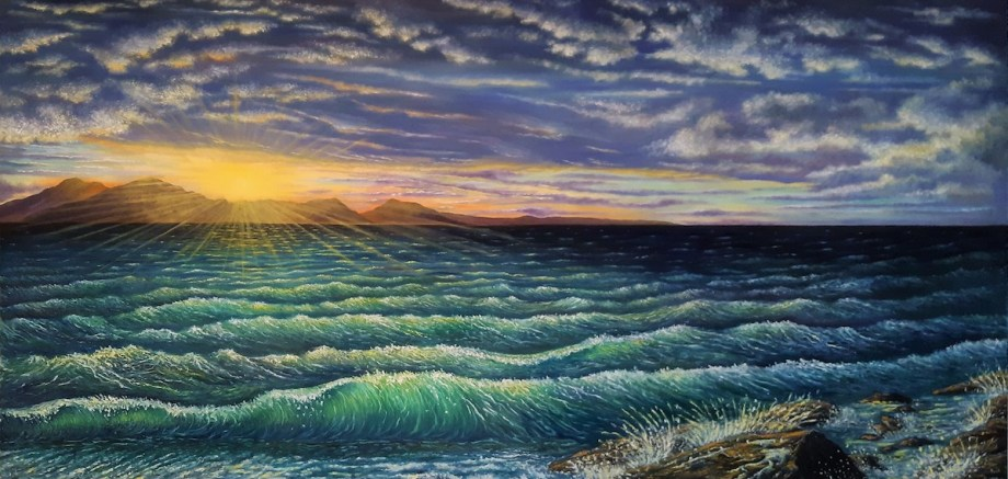 "Afterglow Medium Oil on Canvas Size 20""H x 40""W"