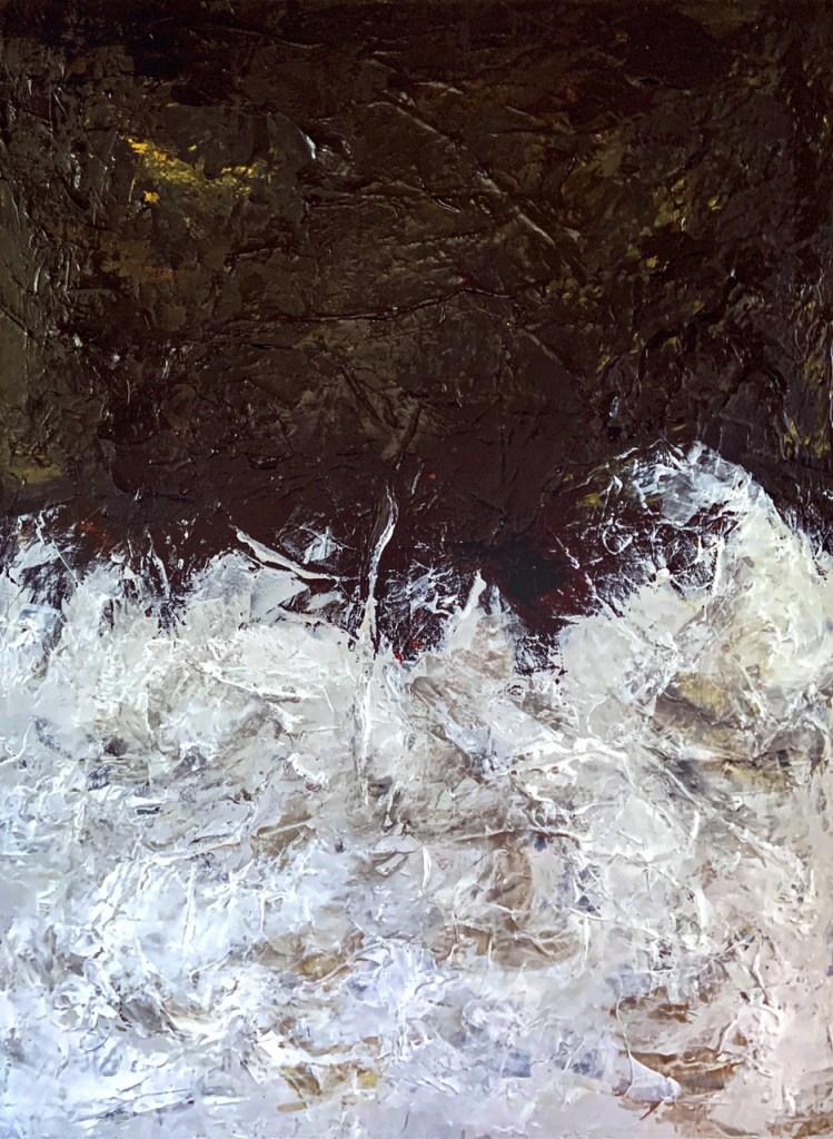 "Lunar Landscapes: Crests Medium Acrylic on Canvas Size 40"" H x 30"" W"