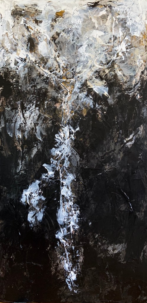 "Lunar Landscapes: Transcendental II Medium Acrylic on Canvas Size 48"" H x 24"" W"