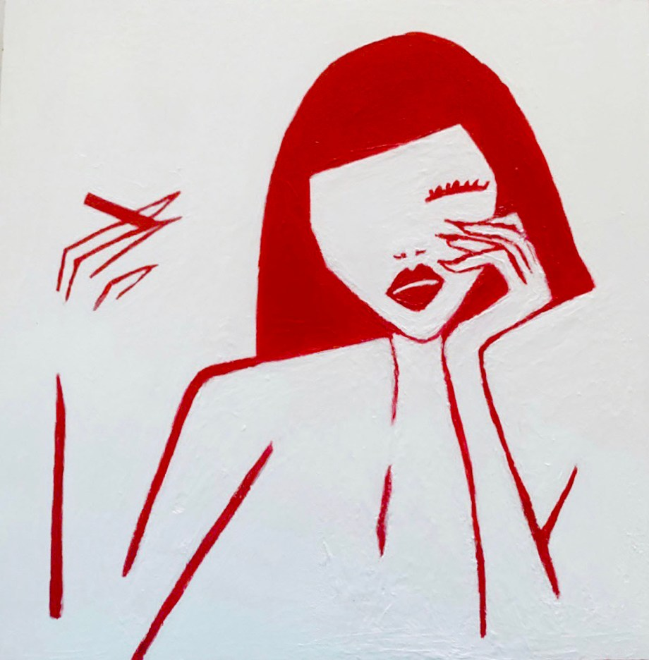 Femme Fatale Medium Acrylic on Gesso Board Size 12x12