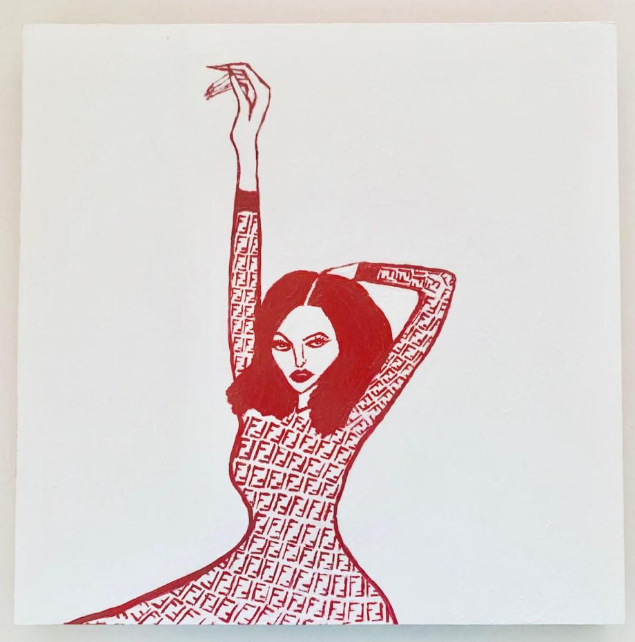 It Girl Medium Acrylic on Gesso Board Size 12x12
