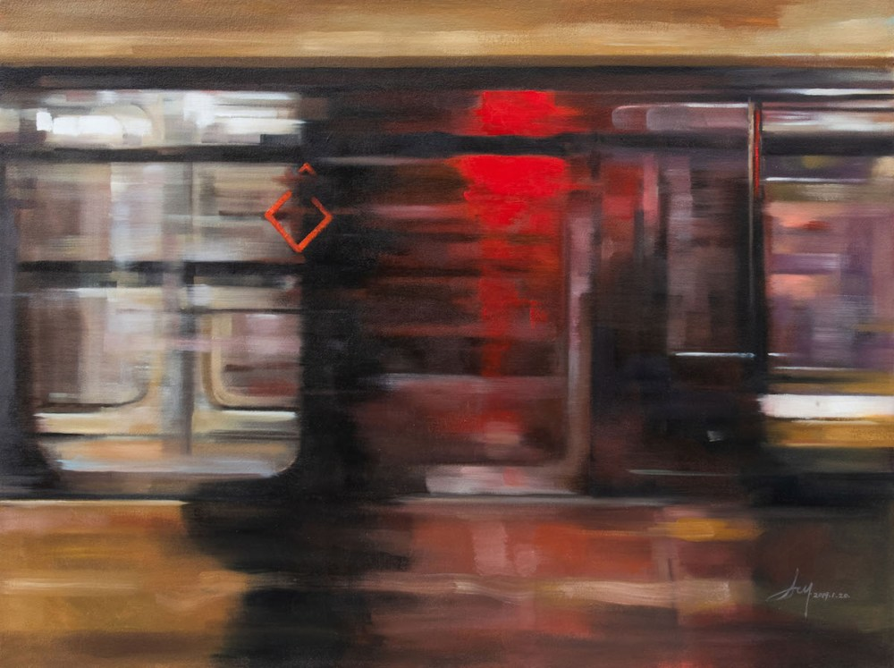 "Red District Medium Oil on Canvas Size 30""x40"""