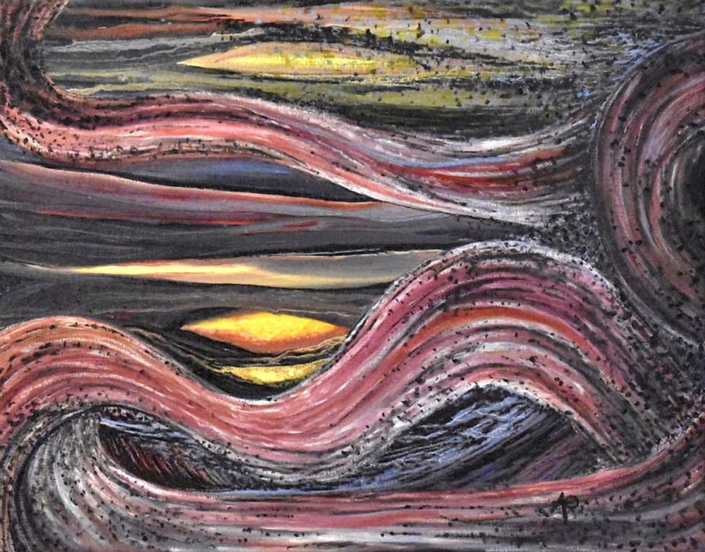 Sunset Medium Oil on Canvas Size 14 X 11 in