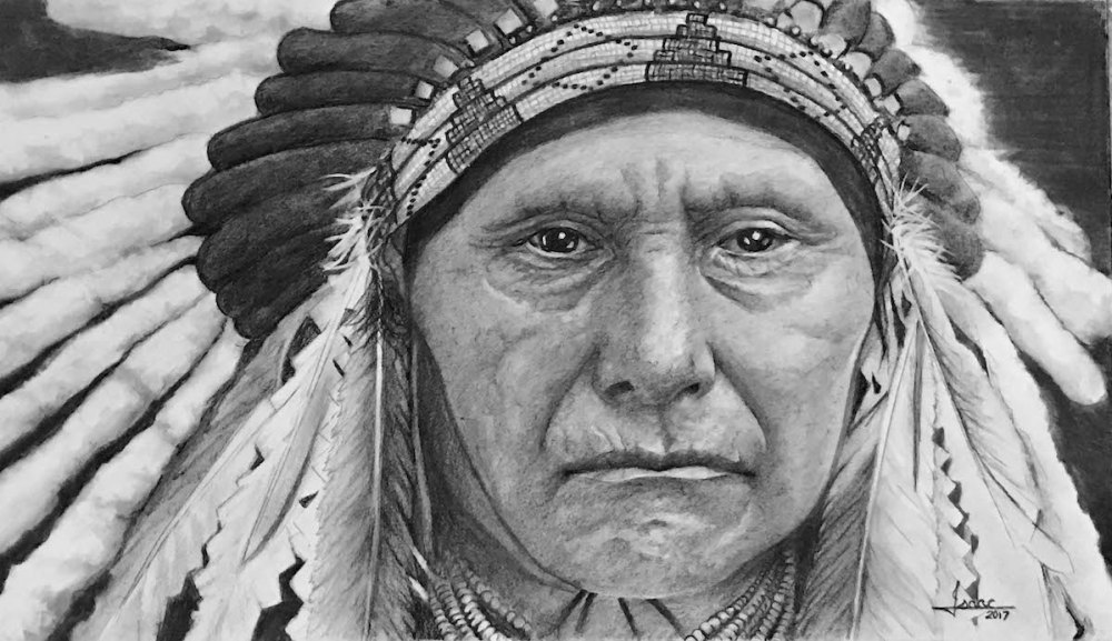 CHIEF JOSEPH Medium GRAPHITE/CHARCOAL Size 15X26.5