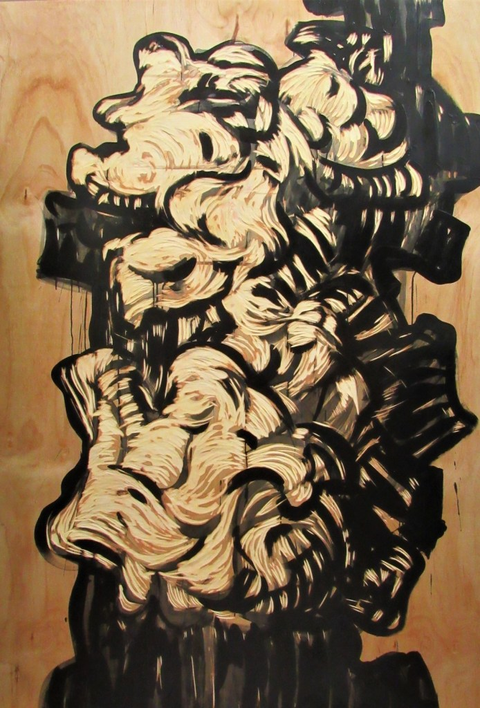 """Opinion"" Medium Wood Engraving, Acrylic Paint Size 72 x 48 in"