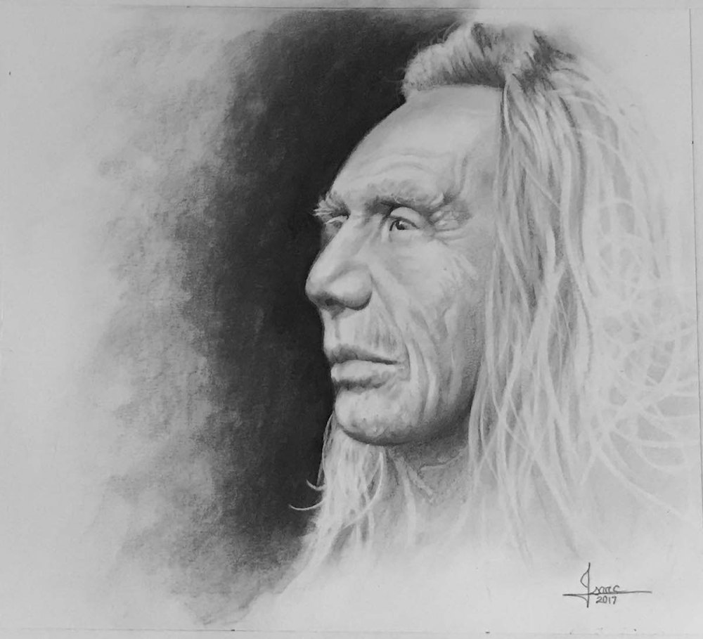 CHIEF THREE EAGLES Medium GRAPHITE/CHARCOAL Size 15.75X22.25