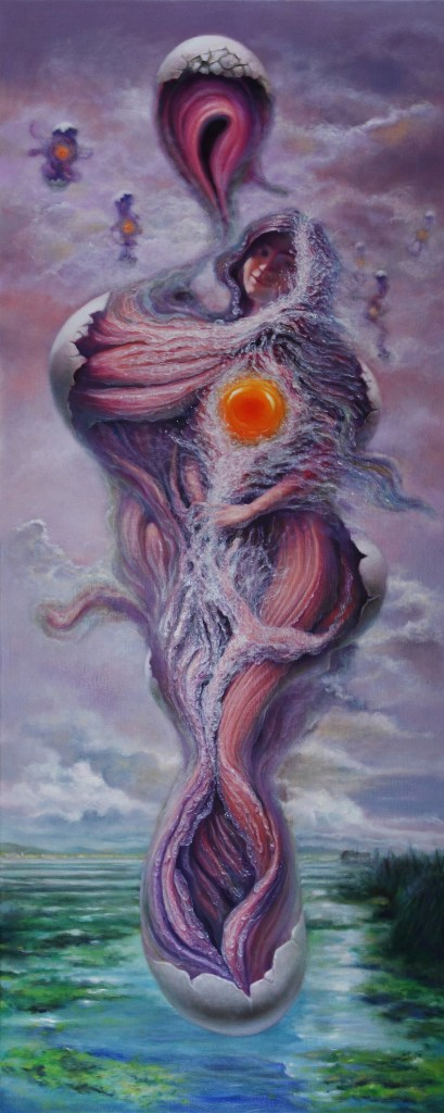 The fantasy of an egg flower Medium Oil on Canvas Size 150x60cm