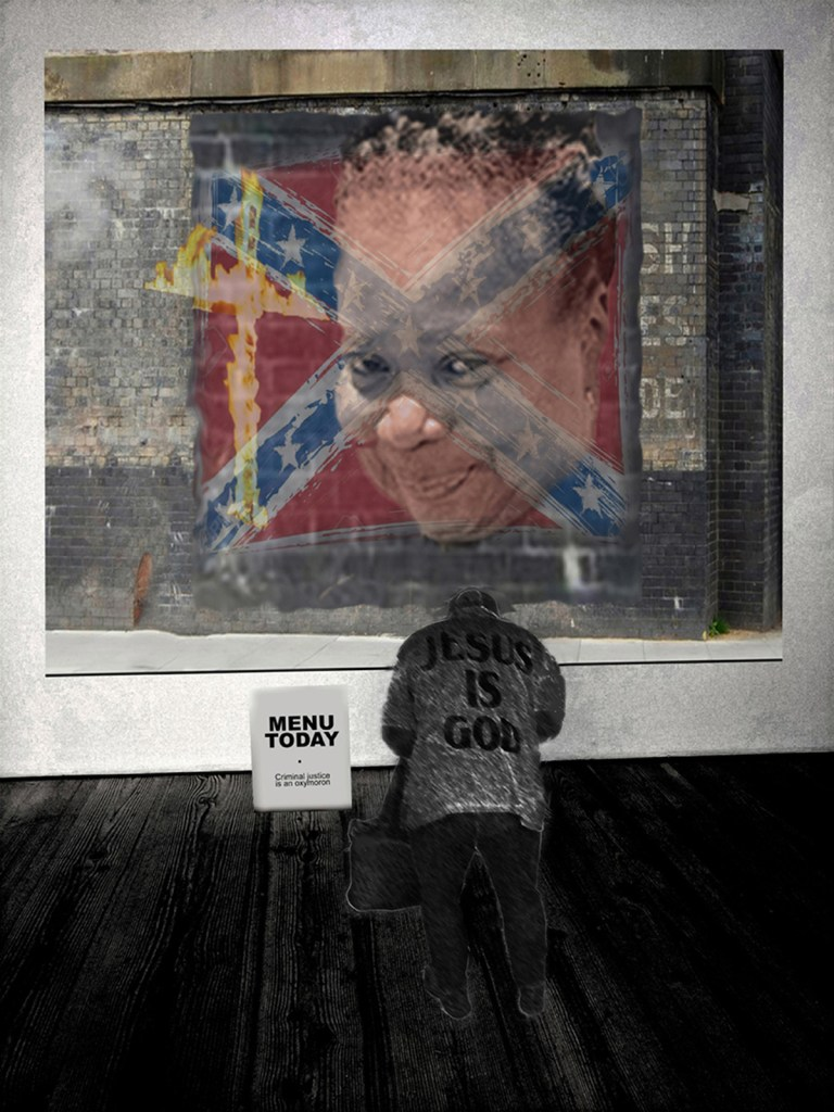 """Criminal Justice Is An Oxymoron Medium Archival Pigment Print Size 25""""(h) x 18.75""""(w)"""