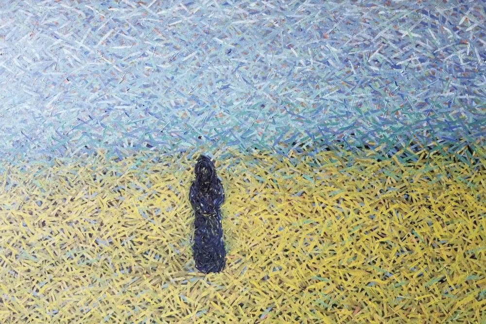 """Black Monk"" Medium Oil on Canvas Size 30 x 48 x 1.5 in"