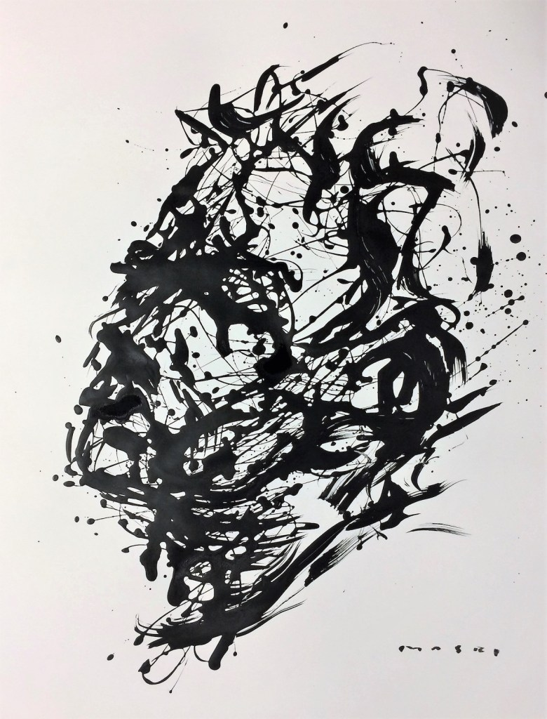 New Expression#44 Medium Ink, Tempera on paper Size 71x56 cm