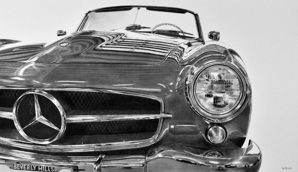 "Beverly Hills Mercedes Medium charcoal Size 21"" x 36"""