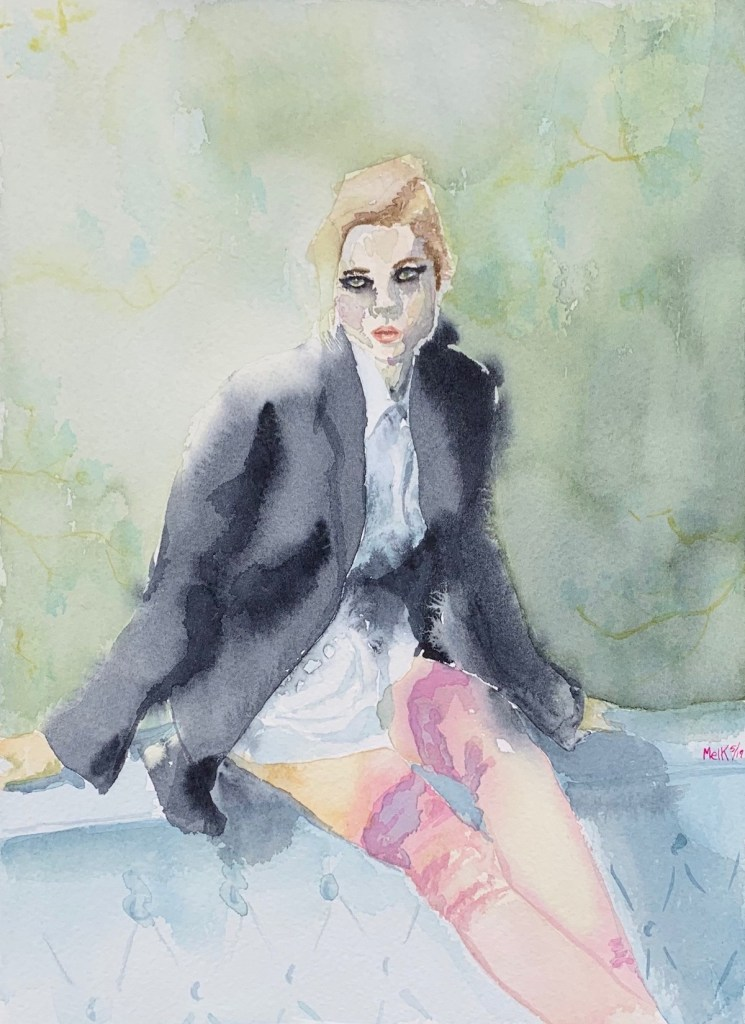 "The Black Blazer Medium watercolor Size 9"" x 12"""