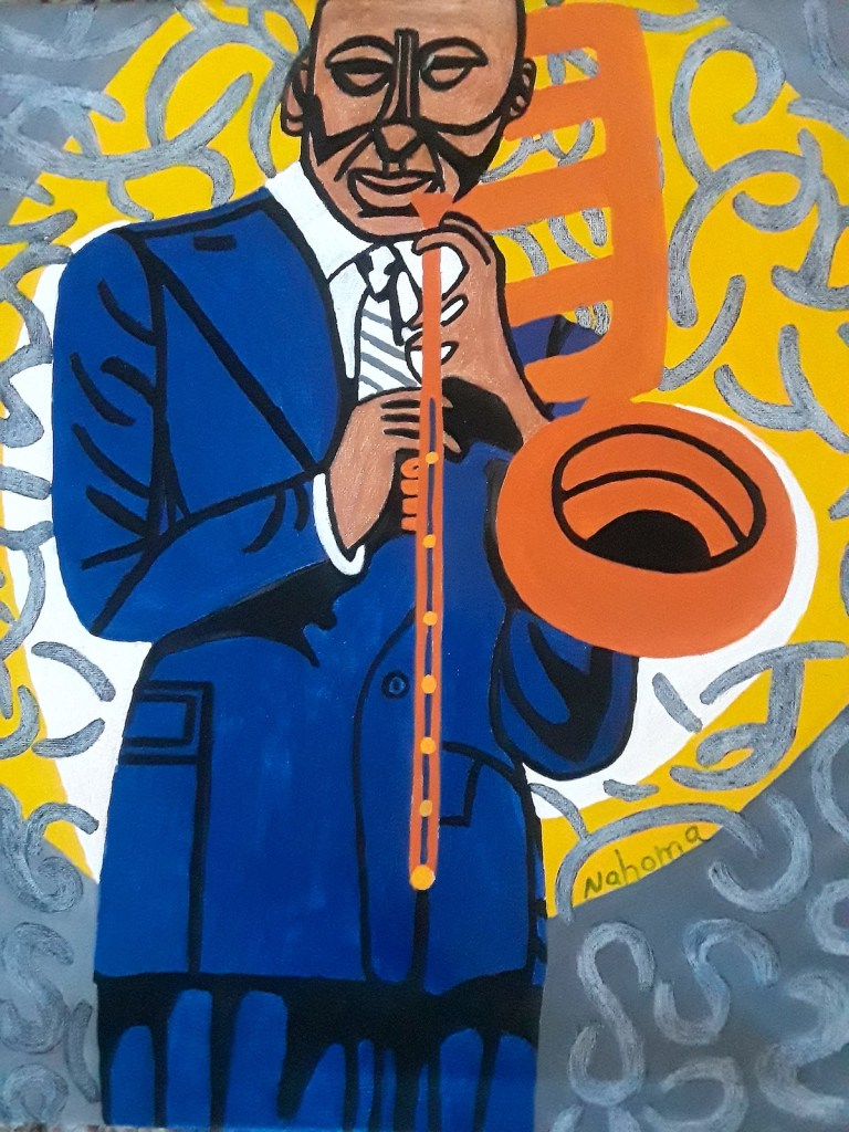 Blue Blowin Man Medium Acrylic On Canvas Size 16 X 20