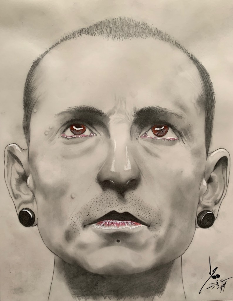 "Chester Bennington Medium Pencil/acrylic/colored pencil Size 11"" x 14"""