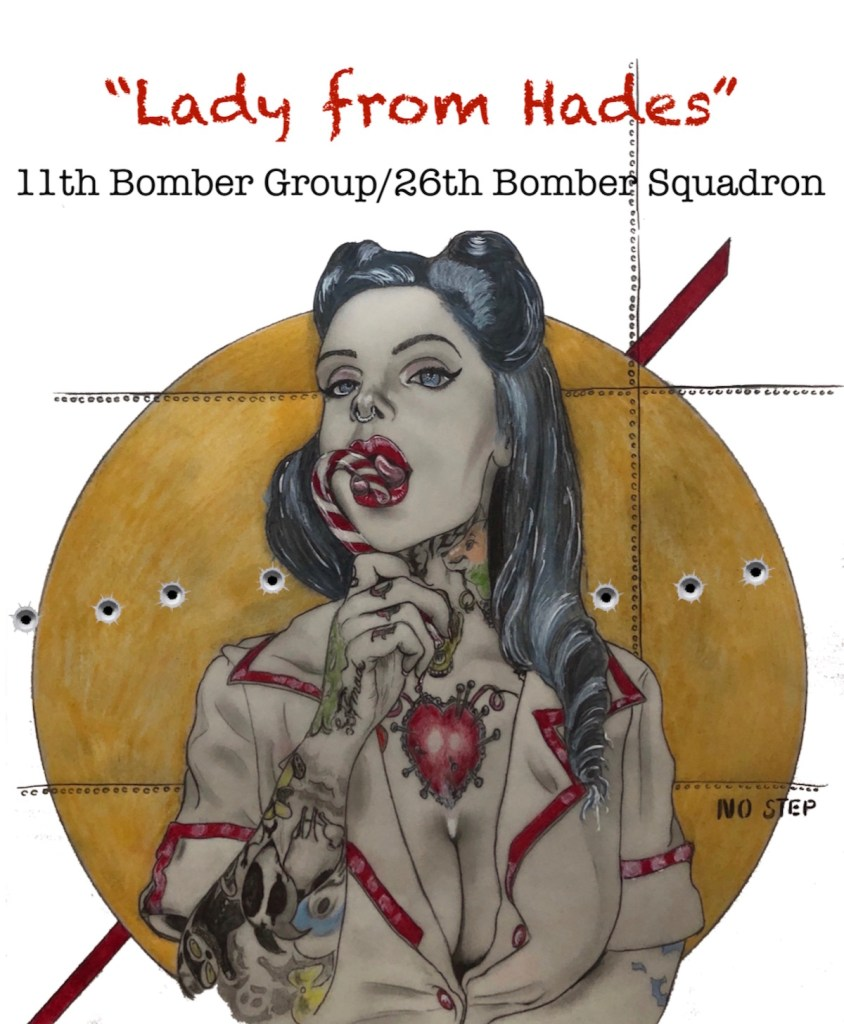 """Lady from Hades""/ww2 squadron nose art Medium mixed media/ with digital lettering Size 11"" x 14"""