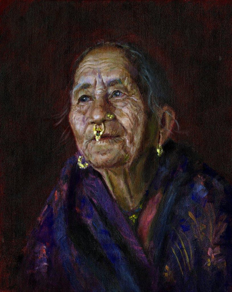 "Nepal Woman Medium Oil on Canvas Size 16"" x 20"""