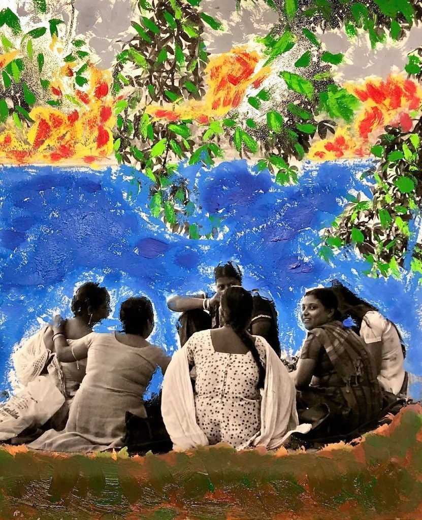 India-A Safe Space for Women Medium Mixed Media Size 16 by 24
