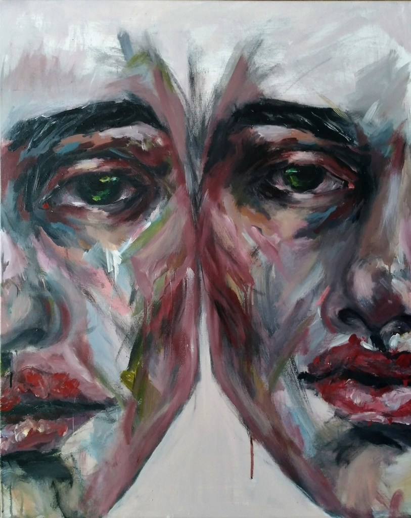 We Are Here to Reflect Each Other Medium acrilyc on canvas Size 81x65 cm
