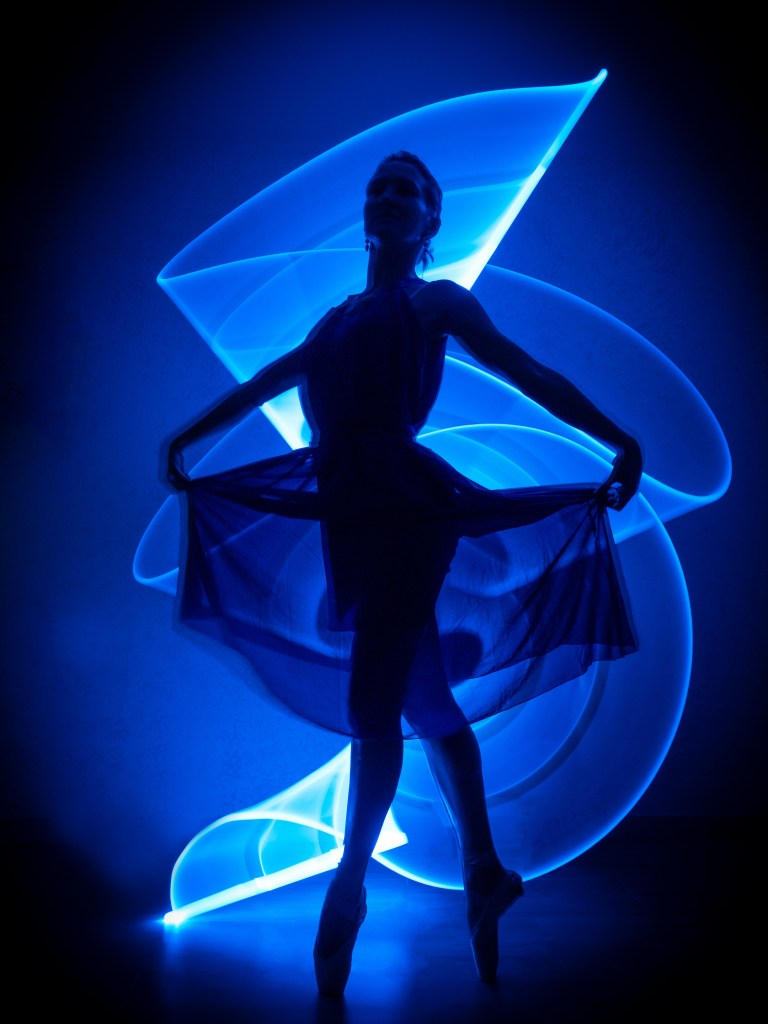 Blue Light Medium Photography with Light Painting technique