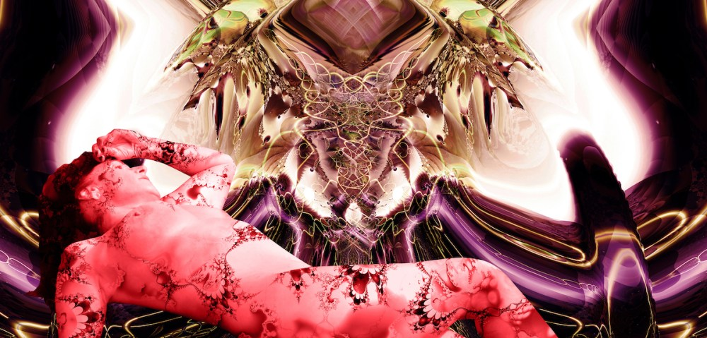 "Orchid Andromeda Medium digital on metallic paper on plexiglas Size 30w"" x 14h"""