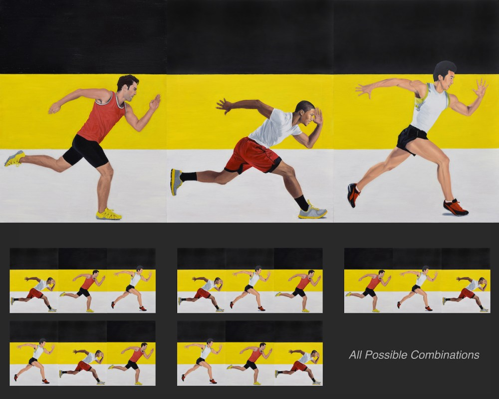 Race (Interchangeable Triptych) Medium Oil on Linen Size 3 panels - each are: 24 x 18 inches