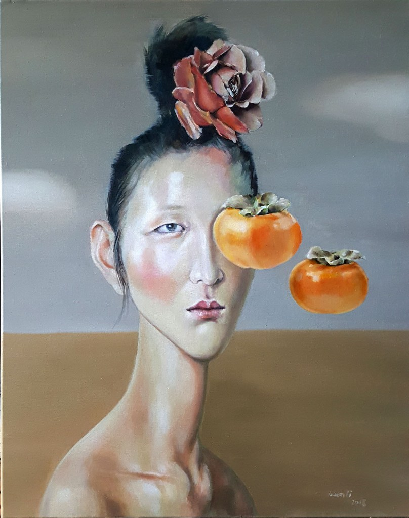 "Leaving Persimmons Medium Oil on canvas Size 28""X22"""
