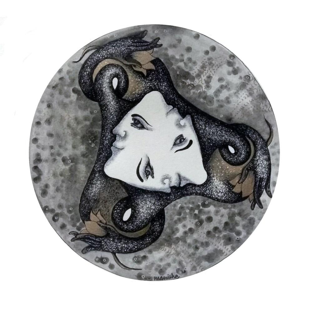 Brahma 1   Pen and Ink on Handmade Sheet   8 in * 8 in