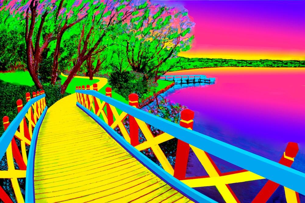 Bridge of Dreams   photography enhanced with photoshop   20x30