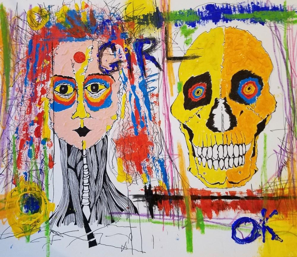 GIRL OK | Mixed media (acrylic, chalk, pencil) | 18 x 24 inches