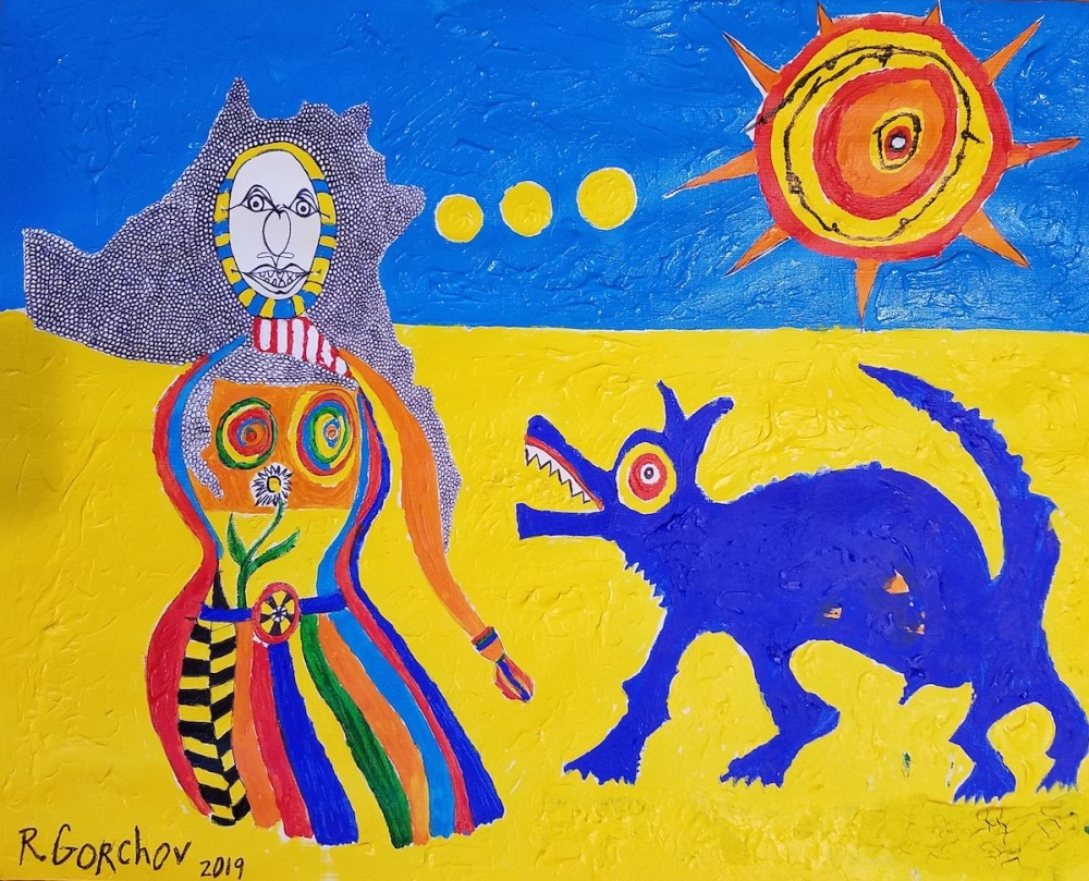 woman with howling blue dog | Mixed media (acrylic, ink, water color) | 16 x 20 inches