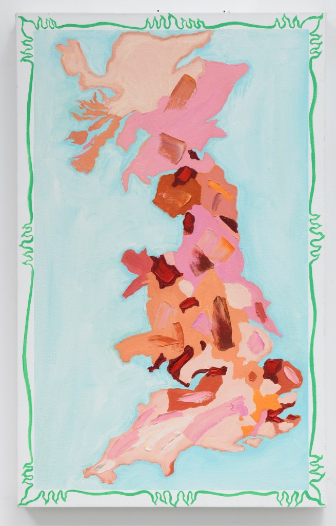 "Great Britain Spring Map 2020 | oil on canvas | 32"" x 20"""