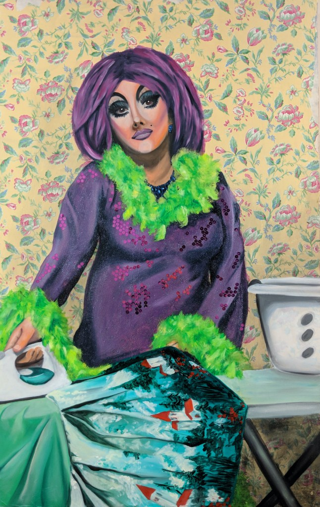 "Women's Work: Ironing | Oil, Wrapping Paper, Glitter, Sequins | 35"" x 48"""