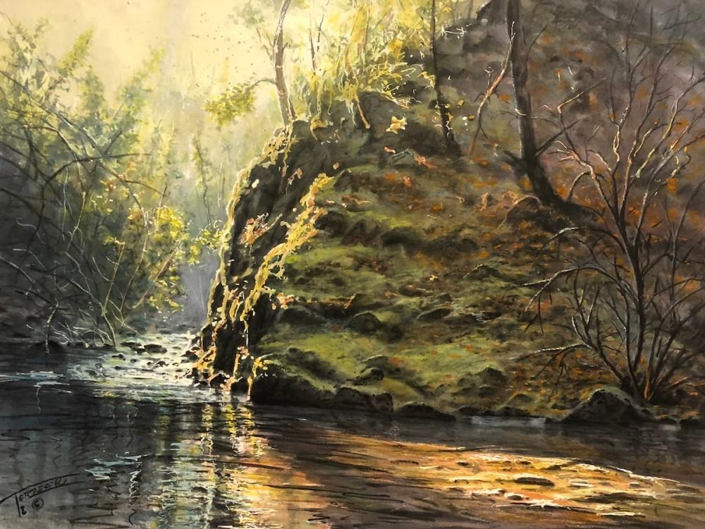Kitchen Creek morning | Watercolor | 22x30