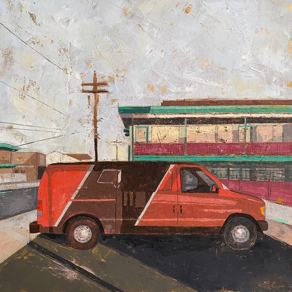 Orange Van | Oil on panel | 12 x 12 inches