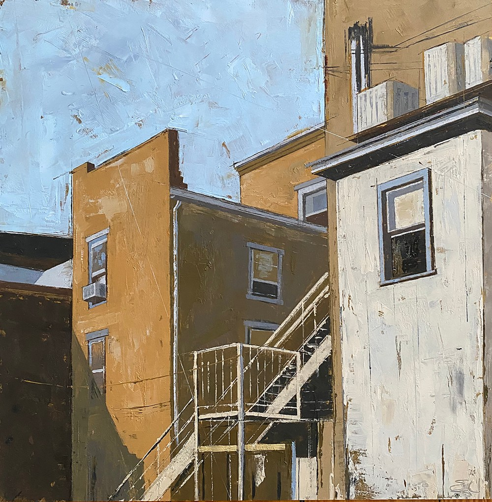 Lambertville Shadows | Oil on panel | 12 x 12 inches