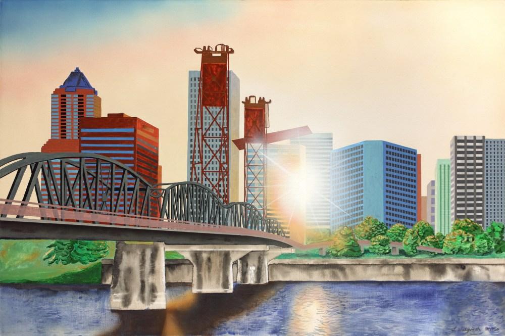 "Setting Sun: Portland Oregon | Acrylic on Canvas | 24"" x 36"""