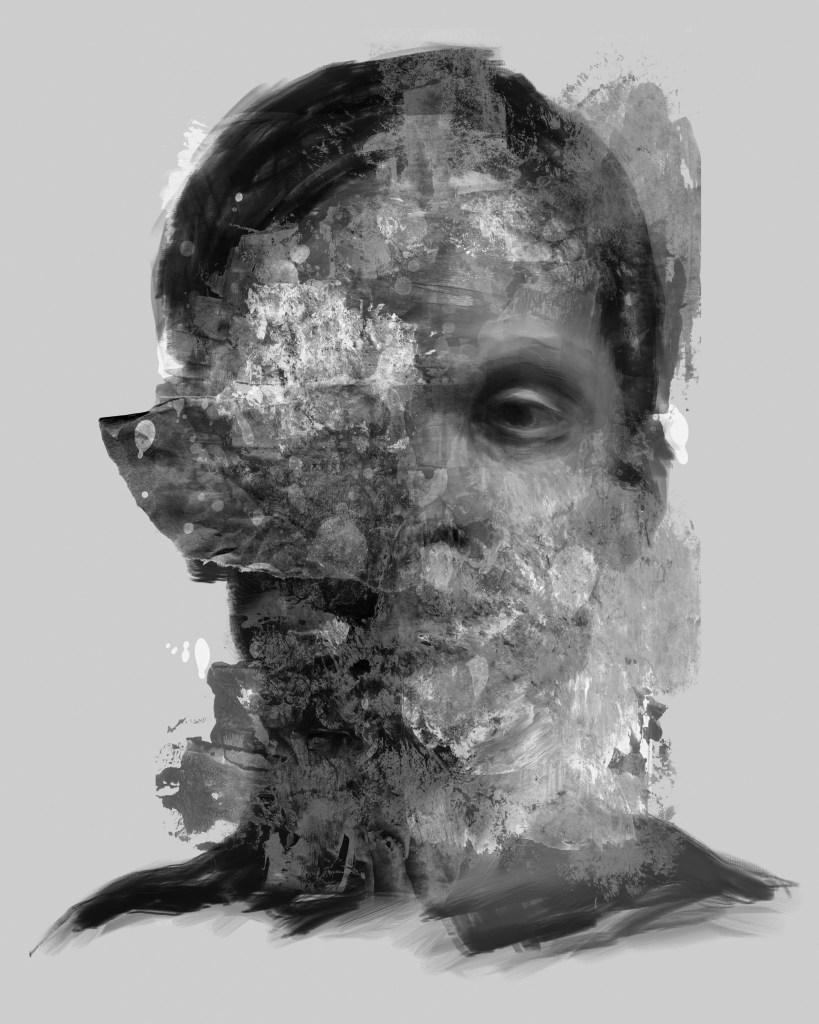 Portrait Study 2.23.21 | digital painting, acrylic paint, torn paper, digital composition | 20x16in.