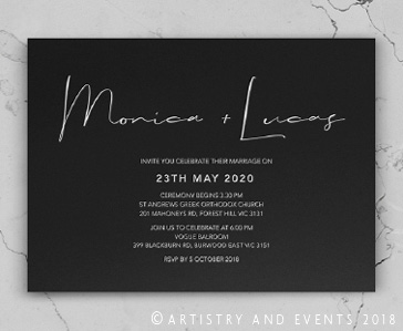 black rustic invite