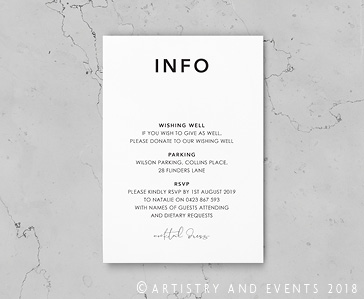wedding info card rustic